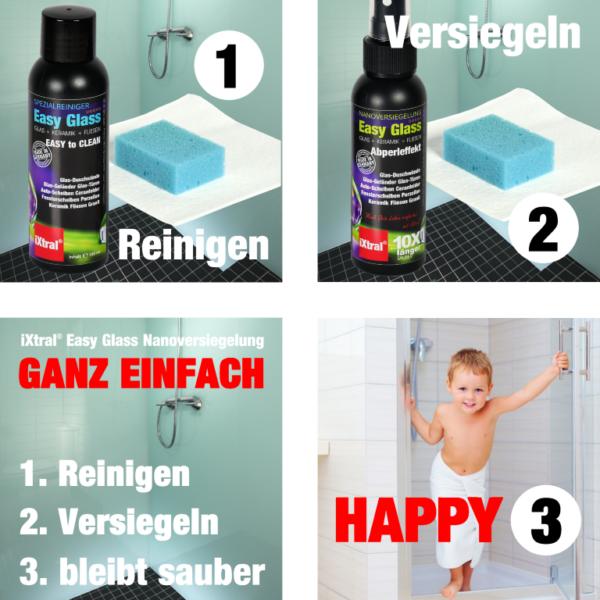 GANZ EINFACH HAPPY - Anwendung von iXtral Nanoversiegelung Glas und Keramik in 3 Schritten