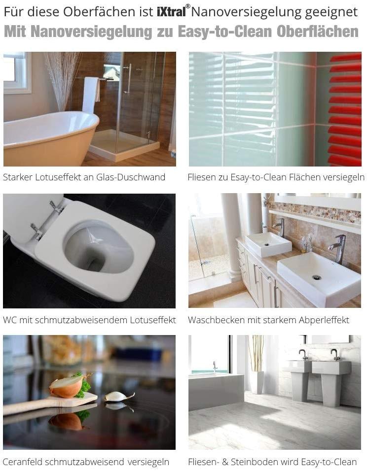 iXtral Nanoversiegelung Glas Keramik eignet sich fuer Duschkabine Duschwand Glastür Fliesen Bodenfliesen Waschbecken WC
