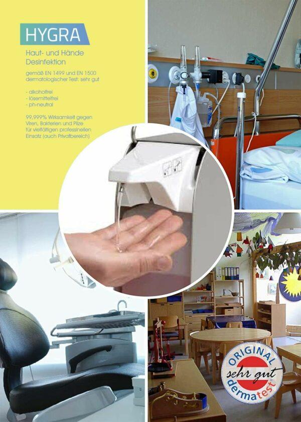 HYGRA Haut- und Händedesinfektion 99,999% wirksam gegen Viren, Bakterien, Pilze für privaten und professionellen Einsatz mit Apotheken-Zulassung