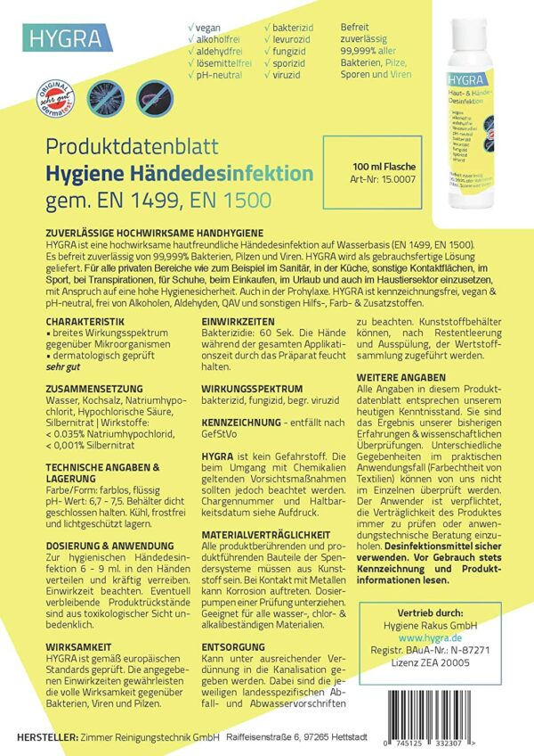 HYGRA Haut-und Händedesinfektion gemäß EN 1499, EN 1500, BauA-Nr.: N-87271, Apothekenzulassung PZN 16609097, Produktdatenblatt, Anwendung, Inhaltsstoffe