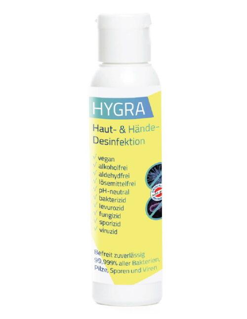 HYGRA Händedesinfektion 99,999% Desinfektion von Viren, Bakterien, Pilzen - hautfreundlich ph-neutral ohne Alkohol, dermatologischer Test sehr gut