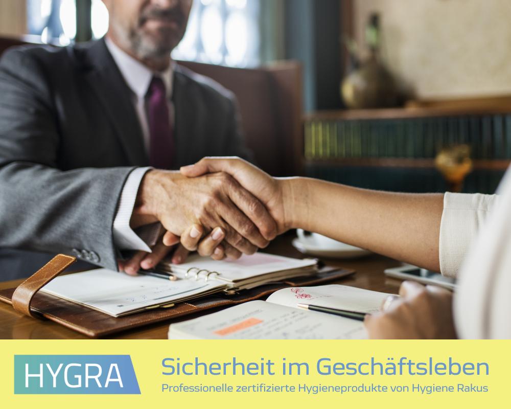 Hygienische Sicherheit im Geschäftsleben und in der Firma durch professionelle Desinfektionsmittel von HYGRA