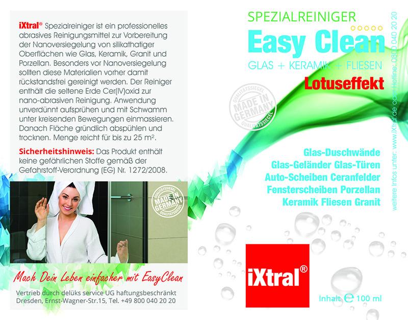 iXtral EASY CLEAN Flächen Versiegelung Glas Keramik Fliesen Porzellan für Küche und Bad Spezialreiniger