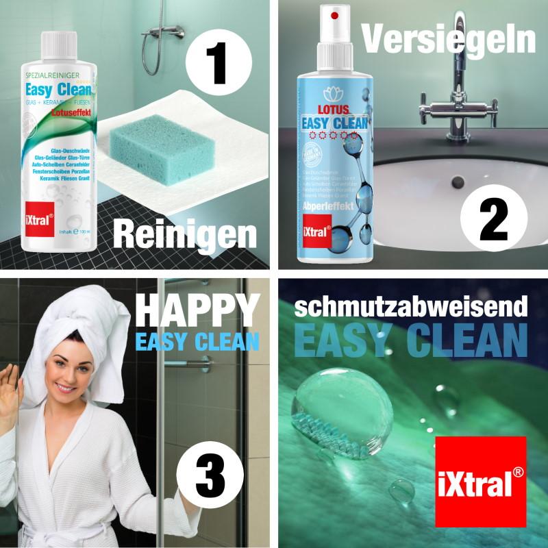 iXtral EASY CLEAN LOTUS - einfache Anwendung für dauerhaften schmutzabweisenden Abperleffekt - be happy