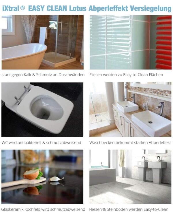 iXtral EASY CLEAN Lotus Versiegelung Anwendungen in Küche und Bad
